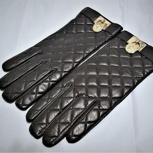 Michael Kors Black Quilted Leather Gloves w Lock